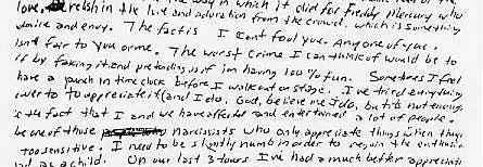 כתב ידו של קורט קוביין